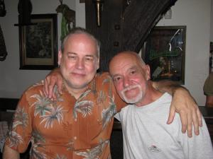 In Reitberg, Germany at the 2008 Tommy Emmanuel guitar festival with Clive Bunker, original drummer for Jethro Tull, who played on Benefit, Aqualung and their classic albums. Very nice man, and still one heck of a drummer!