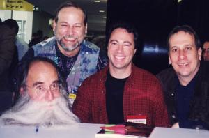 """Bass summit in Anaheim, late 1990's, with three amazing players and people - Lee, Neil, and Hutch at a book signing for Keith Rosier's """"Studio Bass Masters."""""""