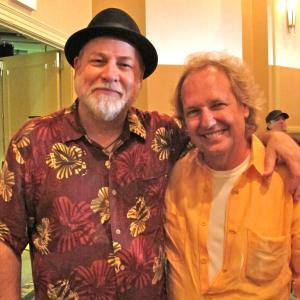 Hanging out with Lee Ritenour after performing together at All Star Guitar Night at 2012 Summer NAMM in Nashville.